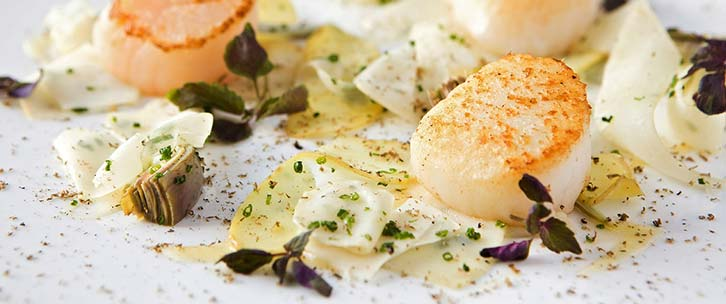Seared scallops and truffles at Stapleford Park