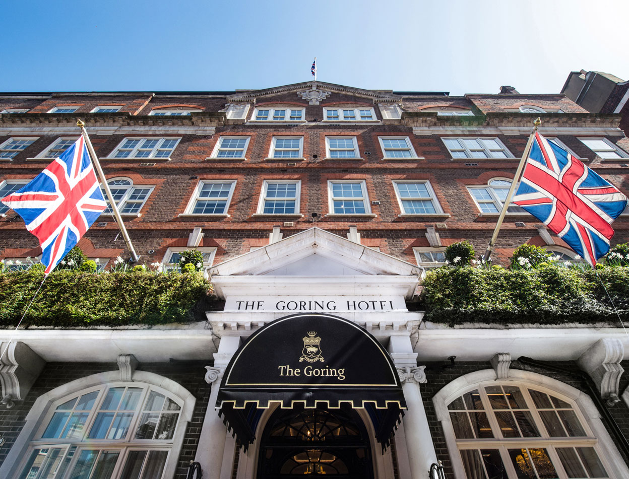 The Goring entrance and flag