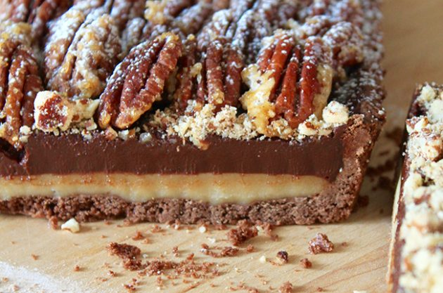Chocolate and Salted Caramel Tart with Pecans by Michel Roux Jr