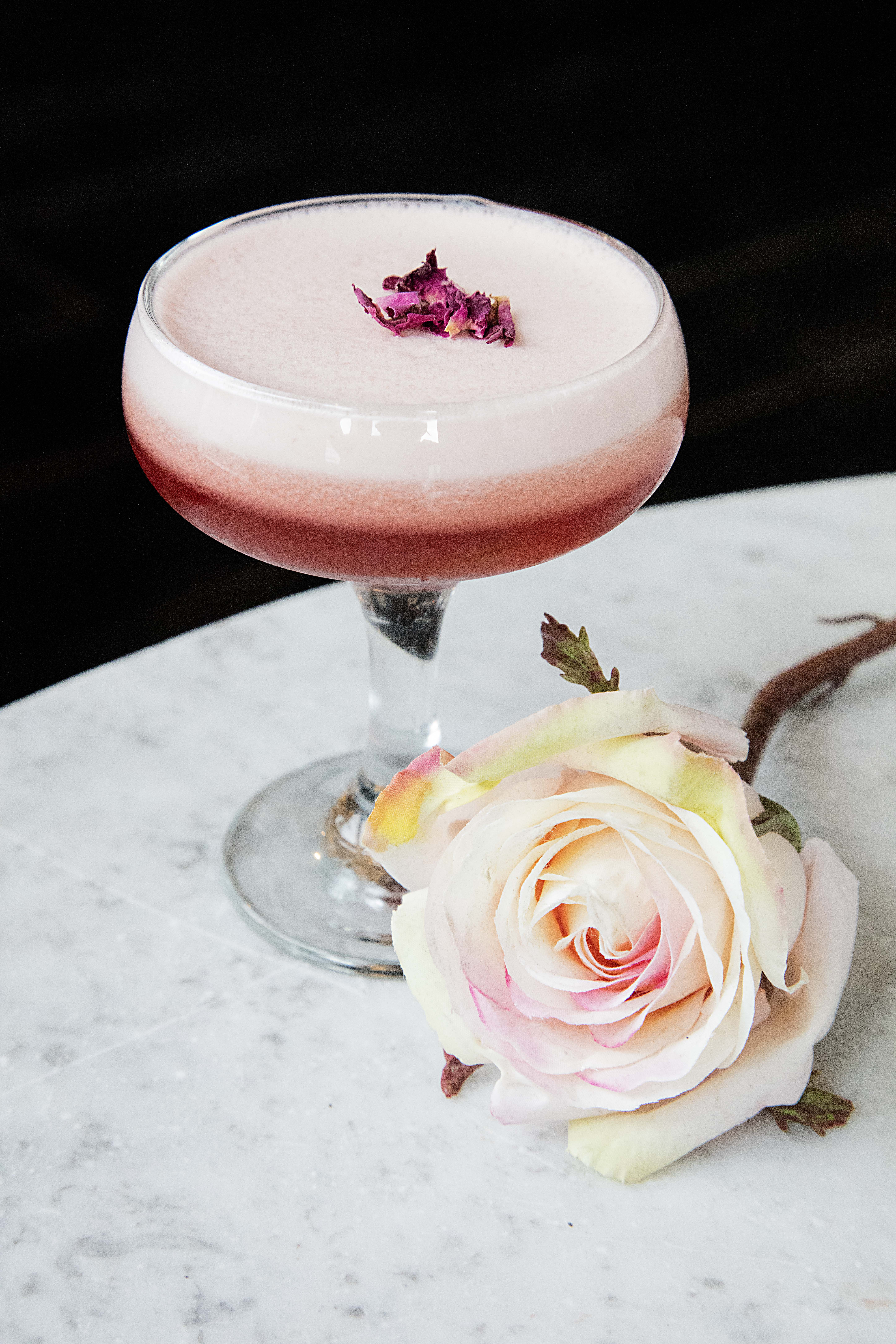 vodka sour with rose and raspberry Bird of Smithfiled